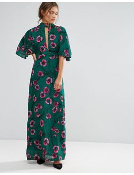 Liquorish Kimono Sleeve Floral Print Maxi Dress by Liquorish