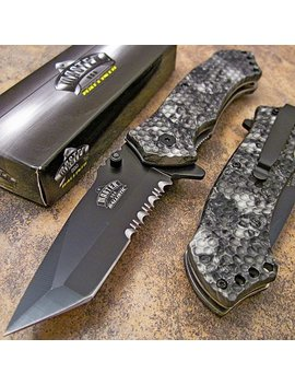 Master Grey Skull Camo Tanto Spring Assisted Opening Hunting Pocket Knife New by Master
