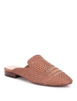 Ad & Daughters Brookshire Satin And Leather Woven Dress Mules by Ad & Daughters