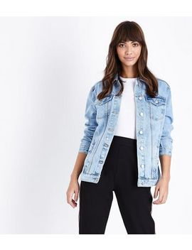 Blue Light Wash Distressed Oversized Denim Jacket by New Look