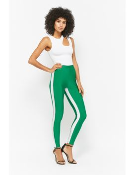 Side Stripe Zippered Leggings by Forever 21