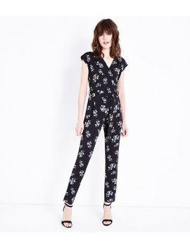 Black Floral Wrap Front Slim Leg Jumpsuit by New Look