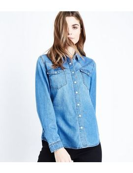 Blue Oversized Denim Western Shirt by New Look