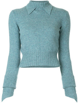 Pointed Collar Slim Jumper by Chanel Vintage