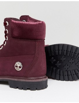 Timberland 6 Inch Premium Burgandy Lace Up Boots by Timberland