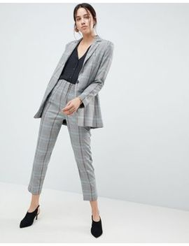 Asos Design High Waisted Clean Tapered In Coloured Check by Asos Design