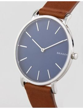 Skagen Skw6446 Hagen Slim Leather Watch In Tan 38mm by Skagen