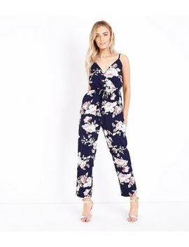 Mela Navy Floral Print Wrap Front Jumpsuit by New Look