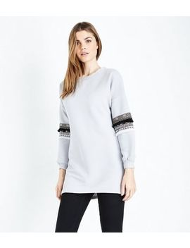 Cameo Rose Pale Grey Aztec Tassel Sleeve Longline Sweatshirt by New Look