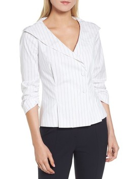 Pinstripe Peplum Back Jacket by Lewit