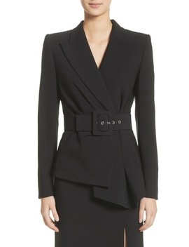 Belted Wool Blend Pebble Crepe Blazer by Michael Kors