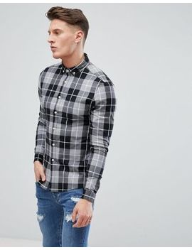 Asos Design Skinny Check Shirt In Gray by Asos