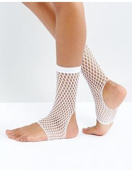 Asos Stirrup Fishnet Ankle Socks In White by Asos Collection
