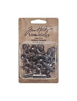 Tim Holtz Idea Ology Hinge Clips 15 Pack, Approx. 1 X 1 Inch Each, Antique Satin Nickel (Th92692) by Tim Holtz Idea Ology