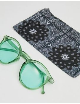 Asos Round Sunglasses In Crystal Green With Green Lens by Asos