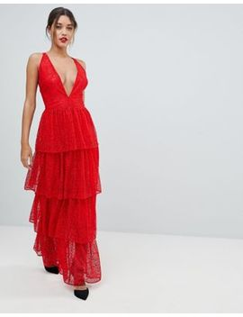 Missguided Tiered Lace Maxi Dress by Missguided