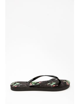 Flamingo & Palm Tree Print Flip Flops by Forever 21