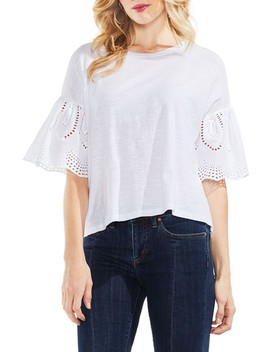 Lace Eyelet Ruffle Sleeve Tee by Vince Camuto