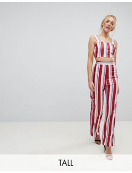 Fashion Union Tall Wide Leg High Waisted Trousers In Stripe Co Ord by Fashion Union Tall