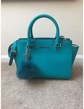 Michael Kors Selma Medium Satchel Handbag Tile Blue Nwt Fur Pom Pom Keychain by Michael Michael Kors