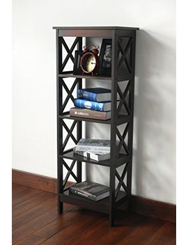 5 Tier Espresso Wood Bookshelf Bookcase Display Media Cabinet by E Home Products