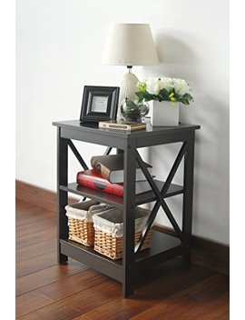 Espresso Finish Wooden X Design Chair Side End Table With 3 Tier Shelf by E Home Products