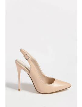 Faux Leather Slingback Pumps by Forever 21