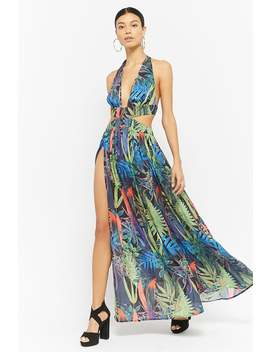 Cutout Floral Halter Maxi Dress by Forever 21