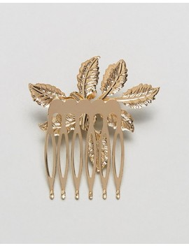 Asos Design Pack Of 2 Gold Leaf And Pearl Hair Combs by Asos Design