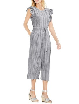 Stripe Ruffle Sleeve Jumpsuit by Vince Camuto