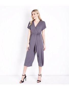 Grey Ribbed Wrap Front Culotte Jersey Jumpsuit by New Look