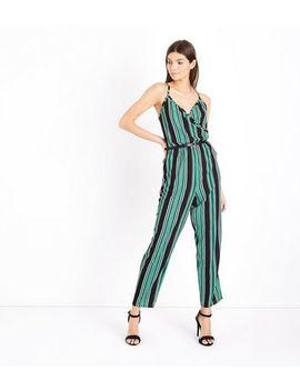 Cameo Rose Green Stripe Wrap Front Jumpsuit by New Look