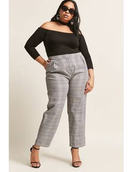 Plus Size Glen Plaid Ankle Pants by Forever 21