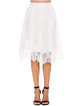 Zeagoo Women High Waist Lace Floral Midi Skirt Extender With Lace Trim by Zeagoo