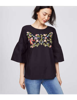 Parrot Jungle Bell Sleeve Top by Loft