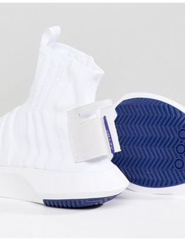 Adidas Originals Crazy 1 Adv Sock Primeknit Trainers In White by Adidas