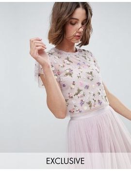 Needle & Thread Prism Embellished Floral Crop Top by Needle & Thread