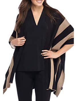 Colorblock Stripe Jacquard Poncho by The Limited