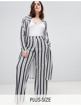 Pink Clove Longline Duster & Wide Leg Pants In Summer Stripe by Asos Brand
