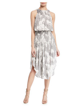 Sleeveless Printed Ruched Midi Dress by Halston Heritage