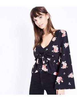 Black Floral Flared Sleeve Cover Up by New Look