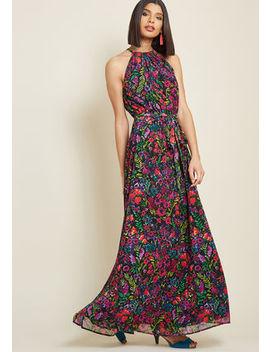 Illuminated Elegance Chiffon Maxi Dress In Black Illuminated Elegance Chiffon Maxi Dress In Black by Modcloth