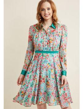 Long Sleeve Chiffon Shirt Dress In Mint Long Sleeve Chiffon Shirt Dress In Mint by Modcloth