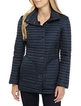 Chenille Stand Collar Puffer Coat by Anne Klein