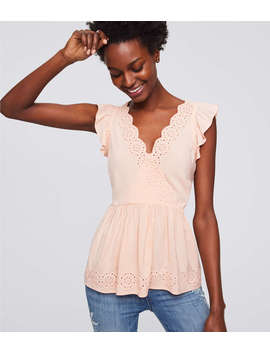 Petite Eyelet Wrap Peplum Top by Loft