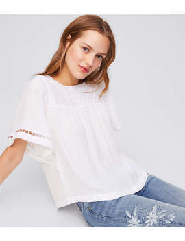 Petite Embroidered Bar Back Flutter Top by Loft