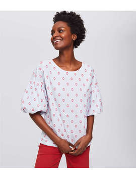Sun Dot Bubble Sleeve Top by Loft