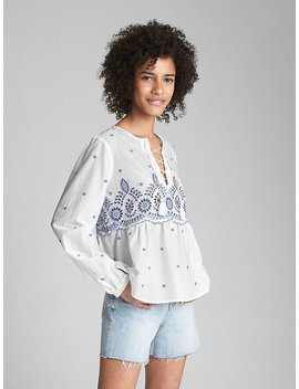 Long Sleeve Zen Eyelet Blouse by Gap