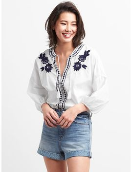 Embroidered Peasant Blouse by Gap