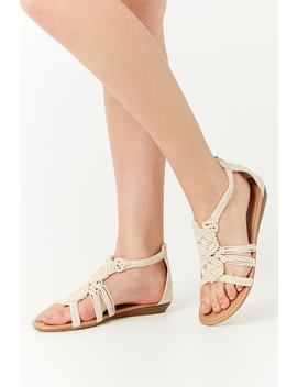 Faux Leather Crochet Strap Sandal by Forever 21